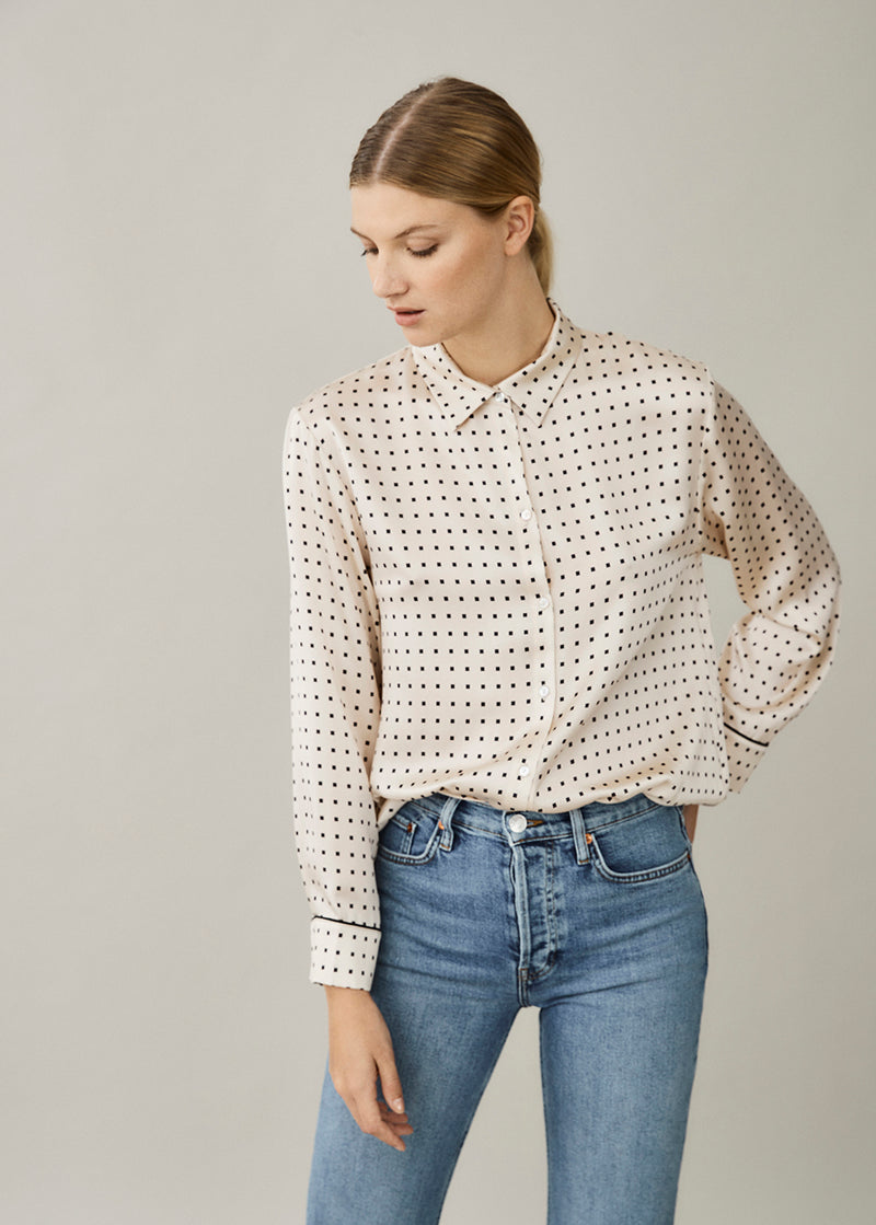 London Cream Square Silk Shirt