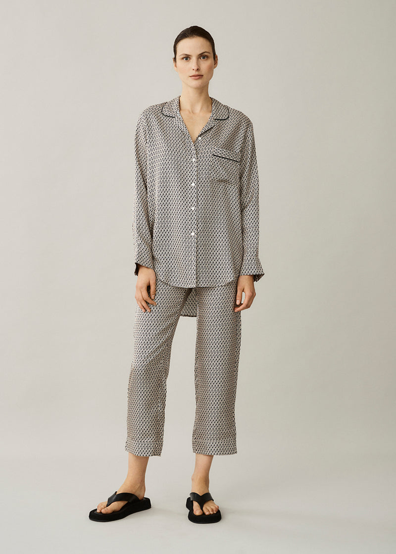 Paris Cream Crescent Silk Twill Oversized Pyjama Top