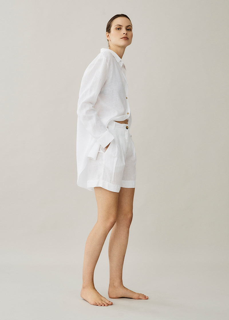 Madrid White Linen Short