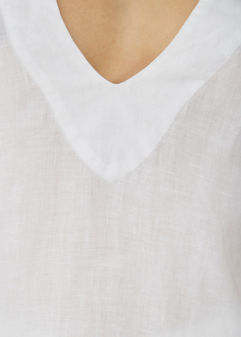 Lille White Linen Top