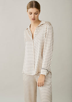 London Cream Square Silk Pyjama Shirt