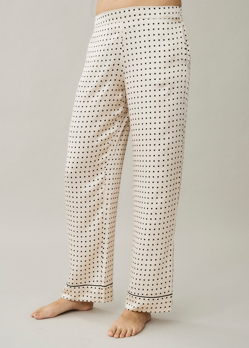 London Cream Square Silk Pyjama Bottom
