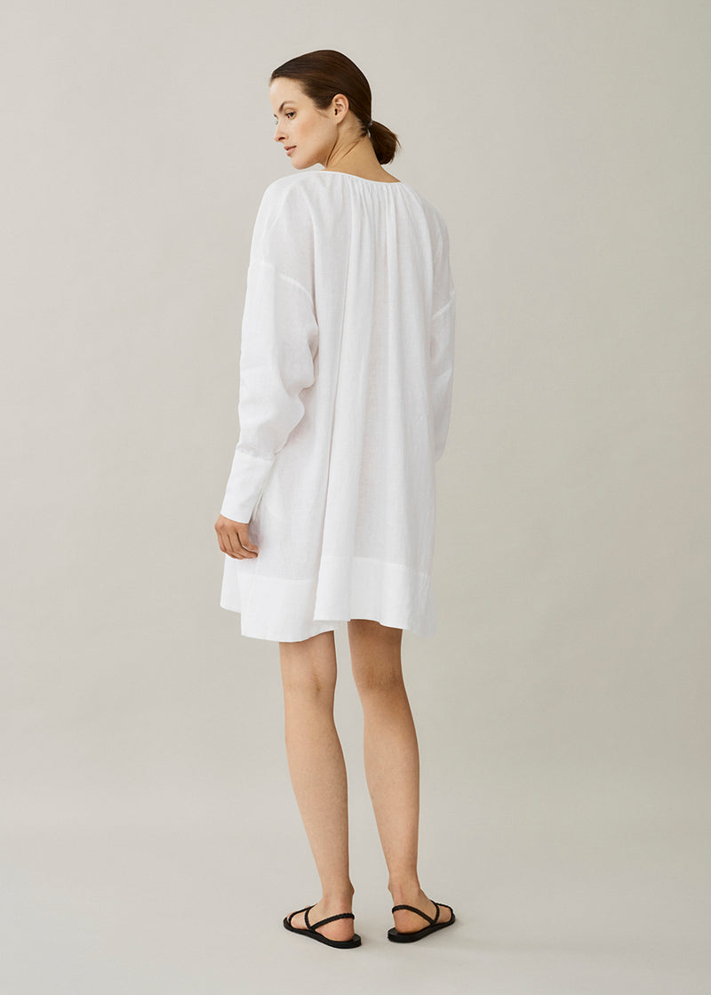 white linen short sun dress