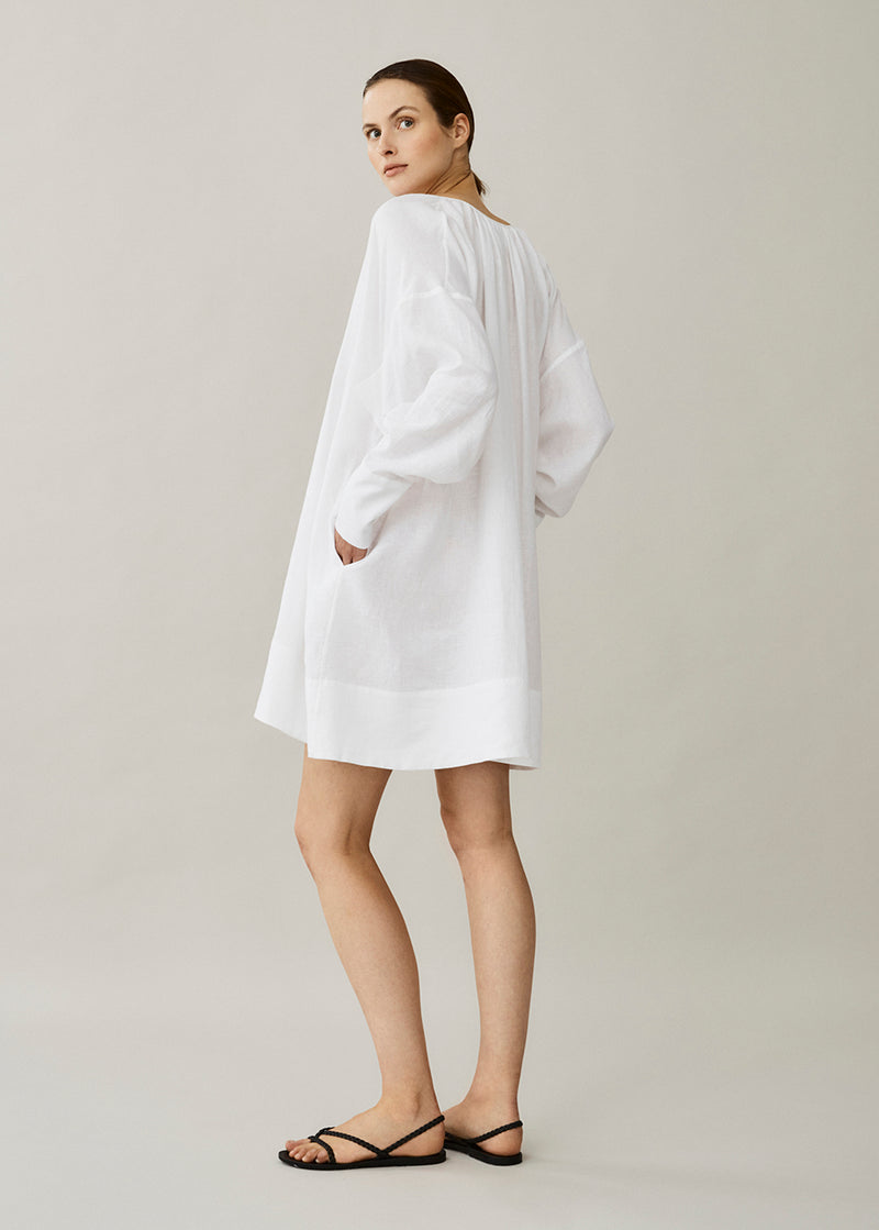 Santorini White Linen Dress