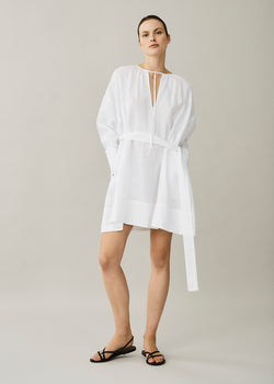 Santorini White Short Linen Dress