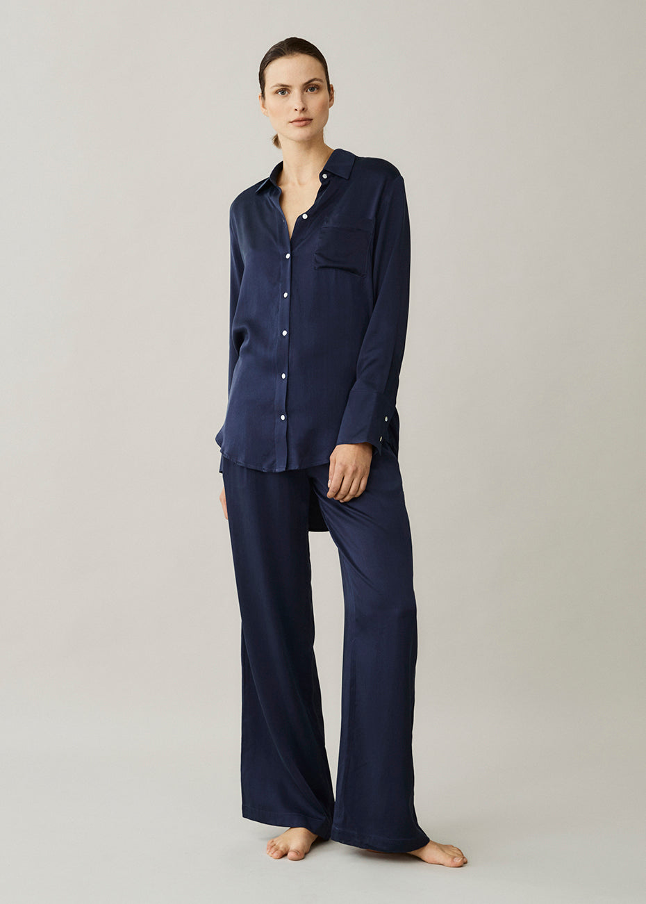 Milan Navy Oversized Silk Pyjama Shirt