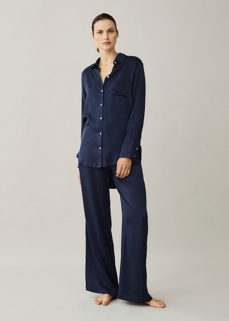 Rivello Navy Silk Trouser
