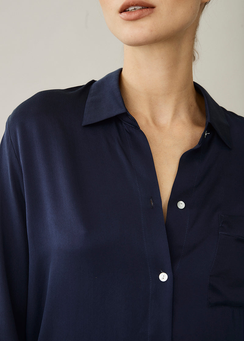 Milan Navy Oversized Silk Shirt