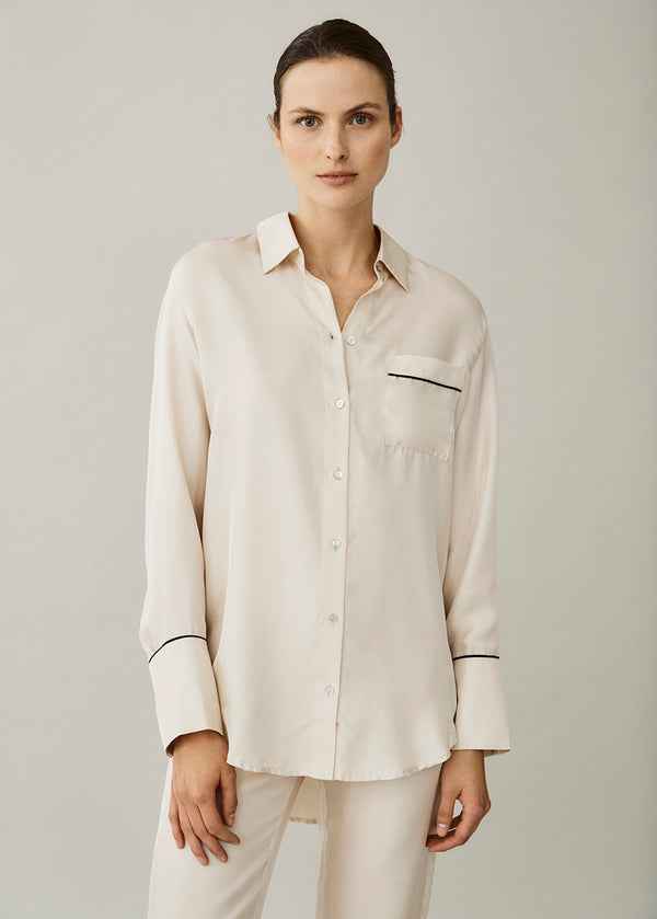 Milan Cream Silk Twill Oversized Shirt