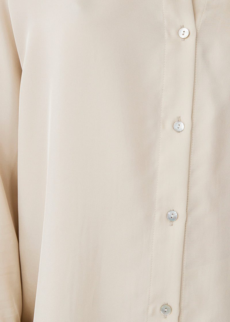 Milan Cream Silk Twill Oversized Pyjama Shirt