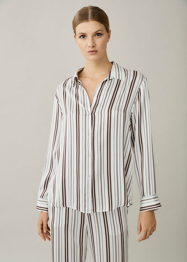 London White Brown Stripe Silk Shirt