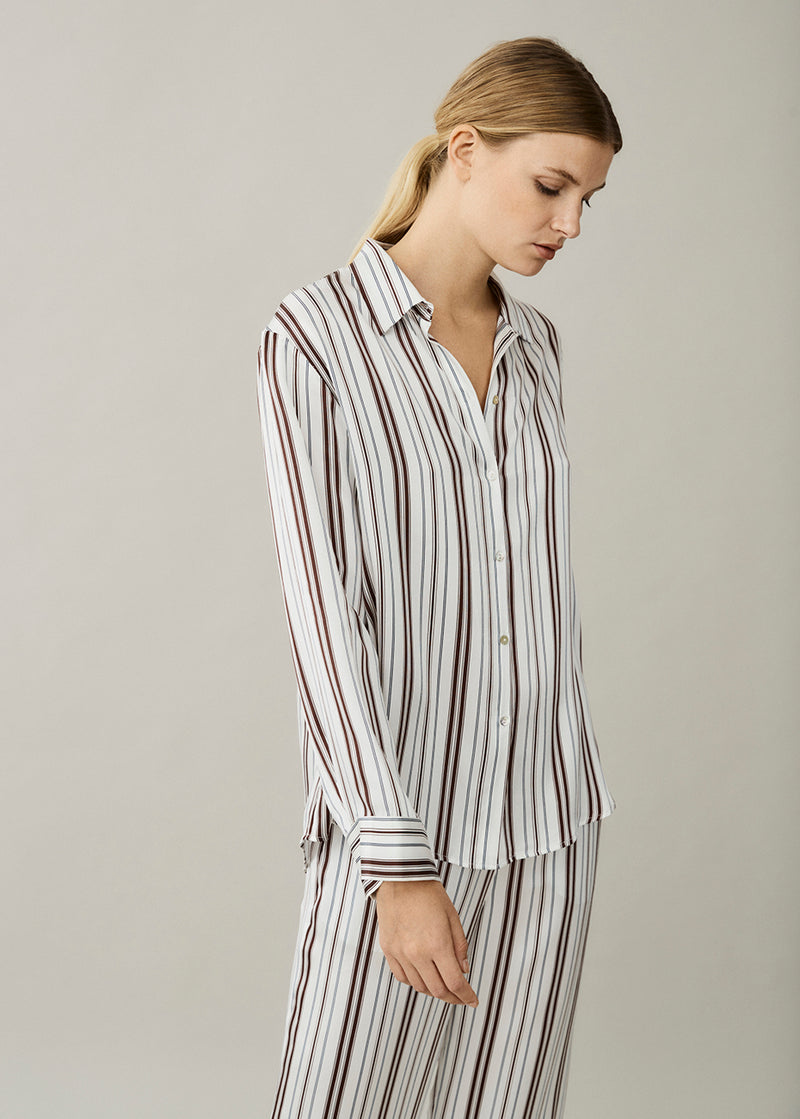 London White Brown Stripe Silk Pyjama Top