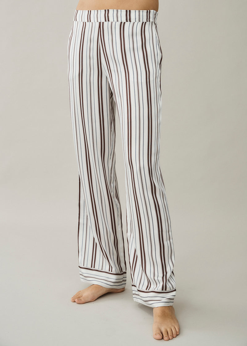London White Brown Stripe Silk Trouser