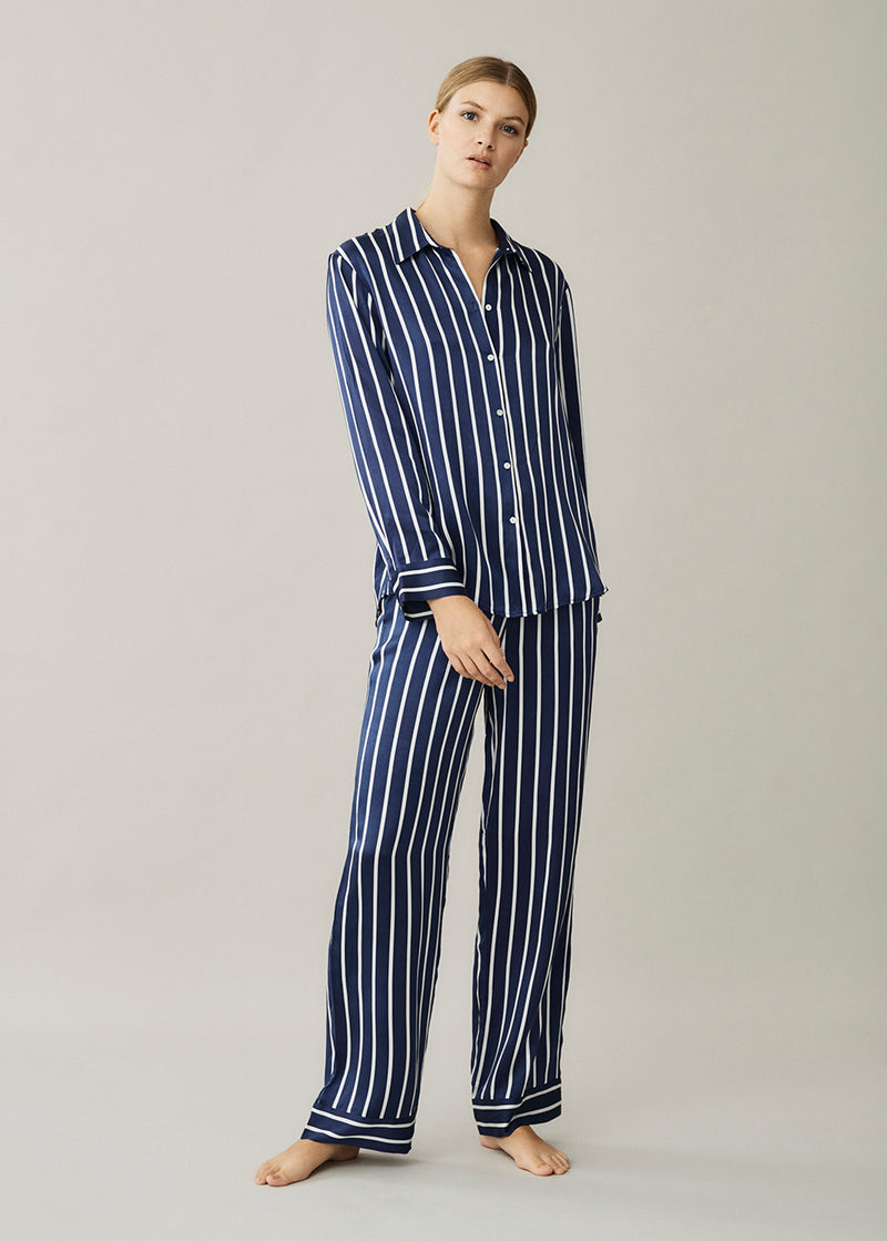 London Navy Stripe Silk Pyjama Shirt