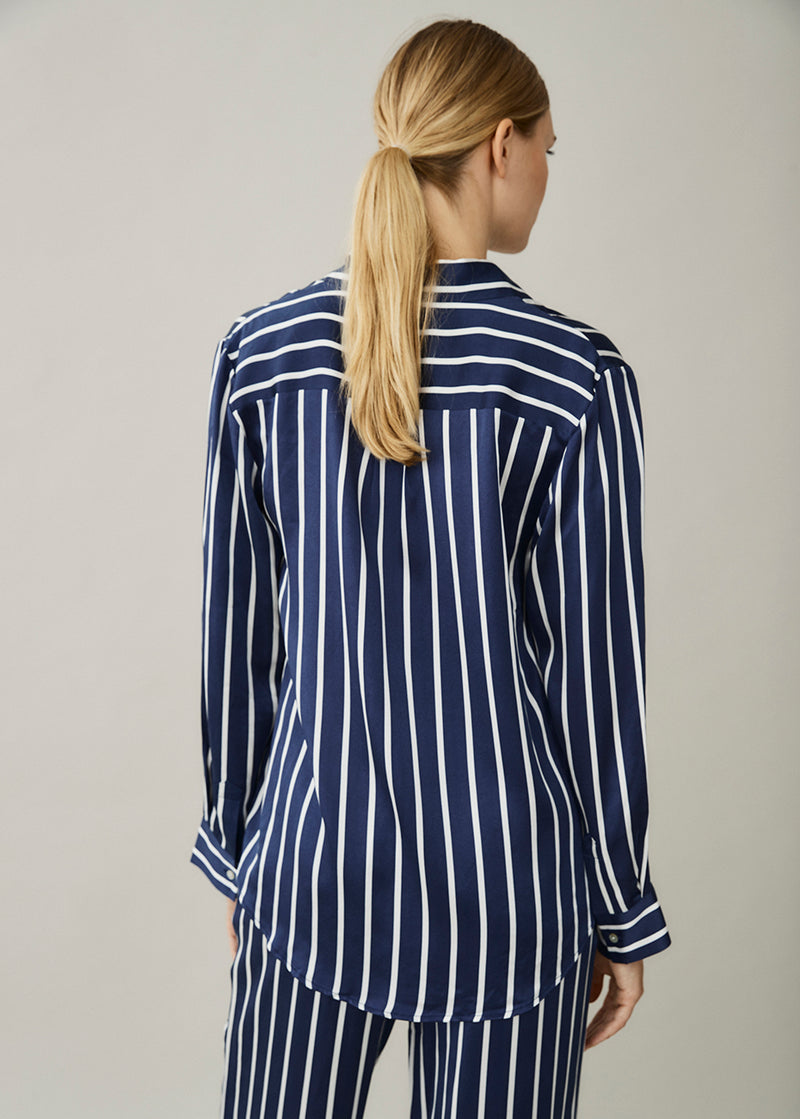 London Navy Stripe Silk Shirt