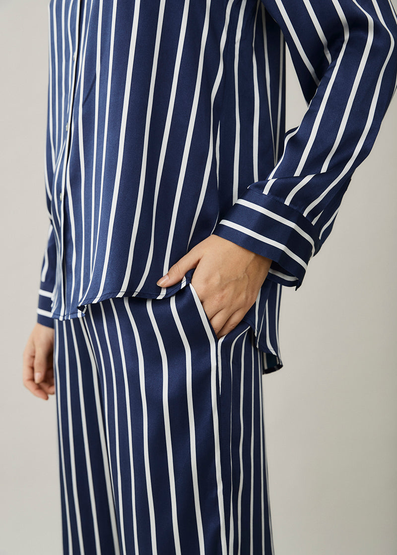 London Navy Stripe Silk Pyjama Top