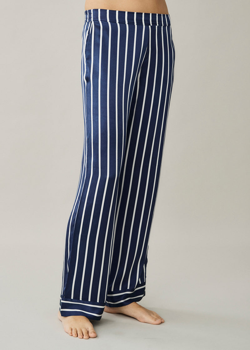 London Navy Stripe Silk Trouser