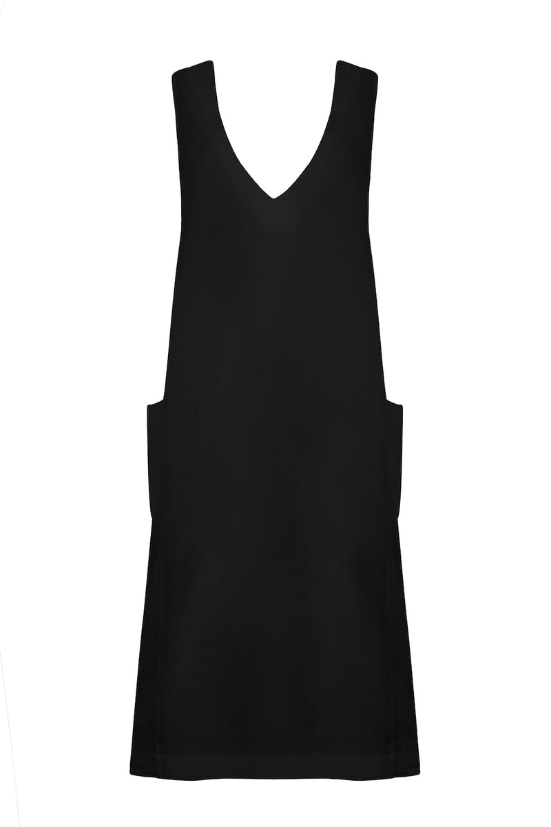 Black linen v neck dress