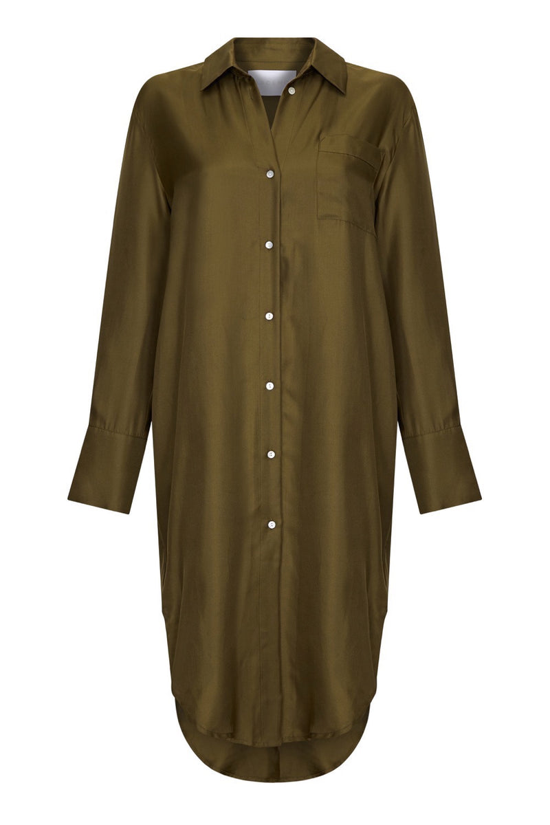 Olive green silk twill shirt dress