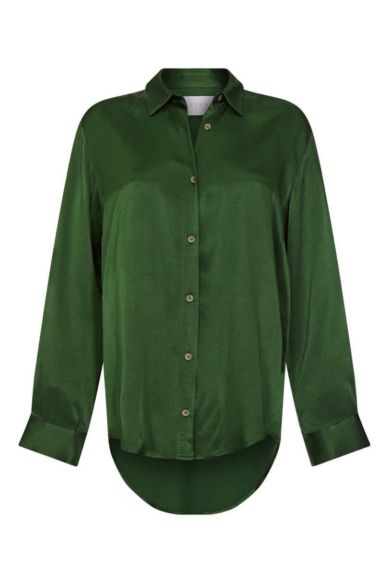 Green bamboo silk oversized shirt