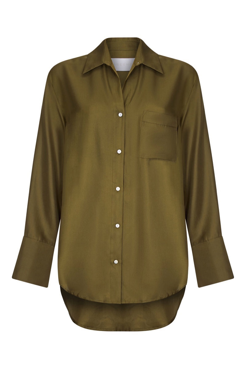 olive silk twill oversized shirt
