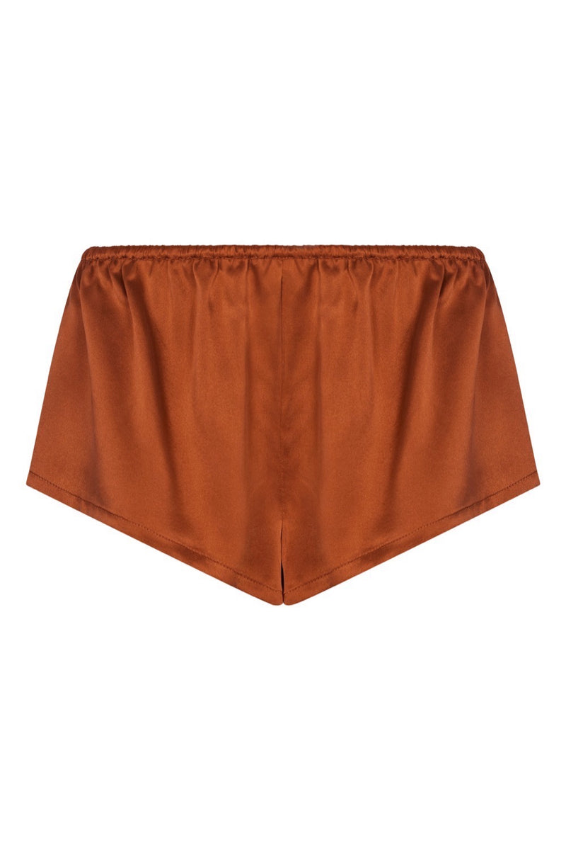 Venice rust silk sleep shorts