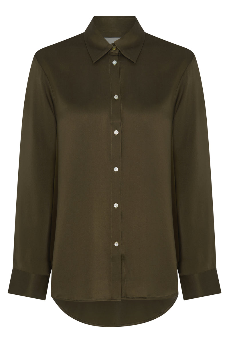 London Dark Olive Silk Pyjama Shirt