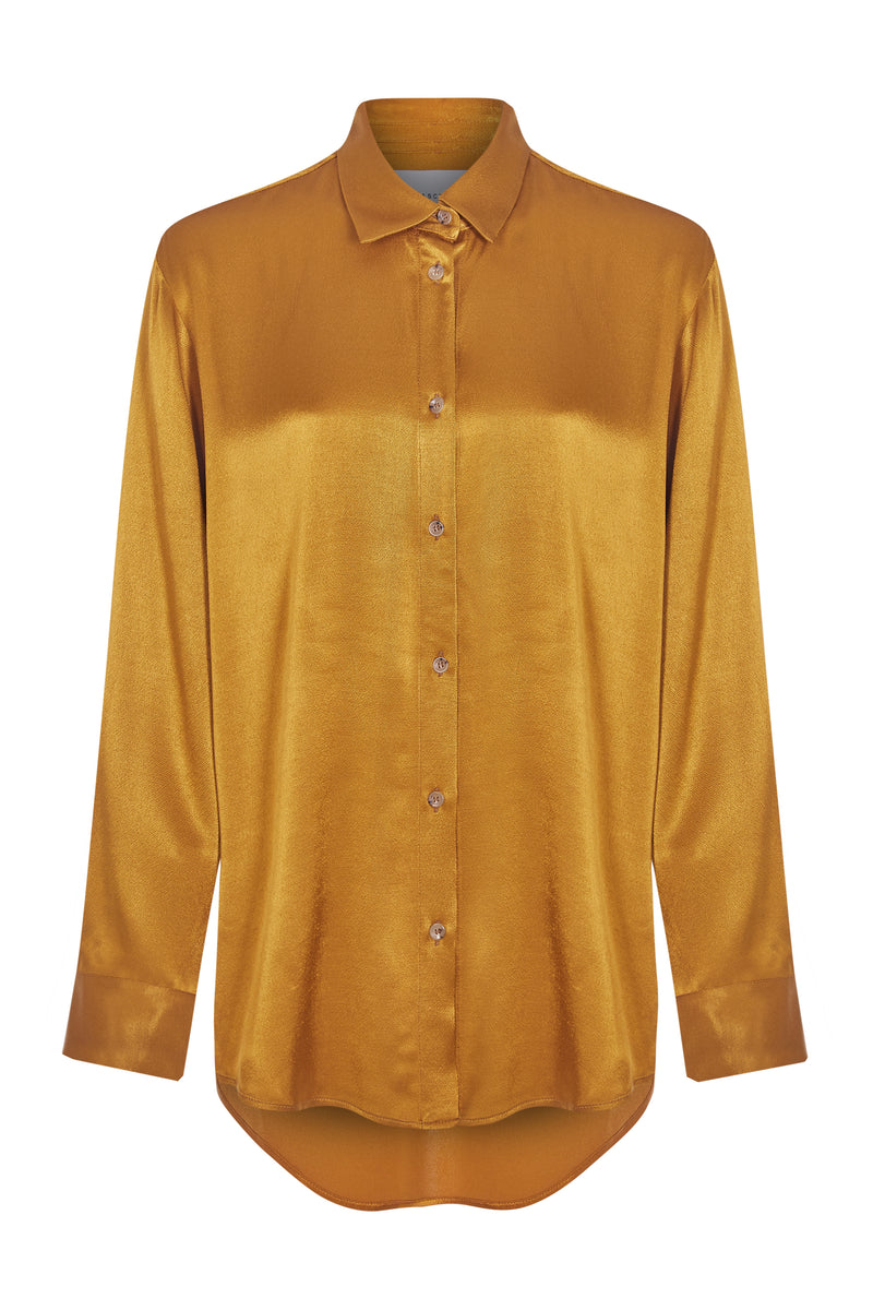 Gold bamboo satin oversized shirt