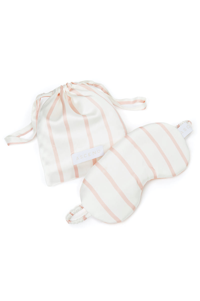 Pink and white stripe silk eye mask
