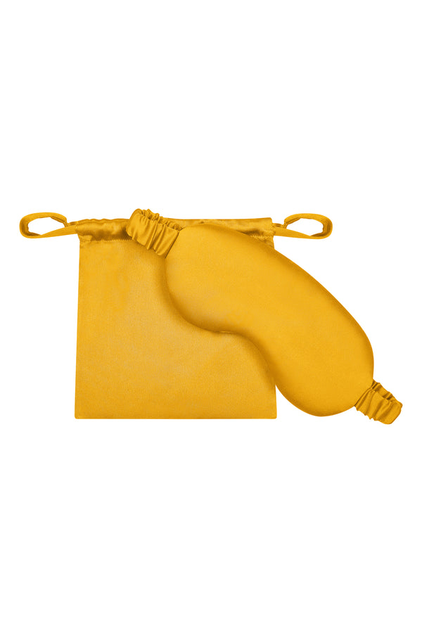 yellow silk eye mask and pouch