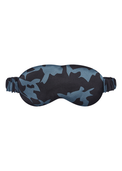 Black and blue printed silk eye mask