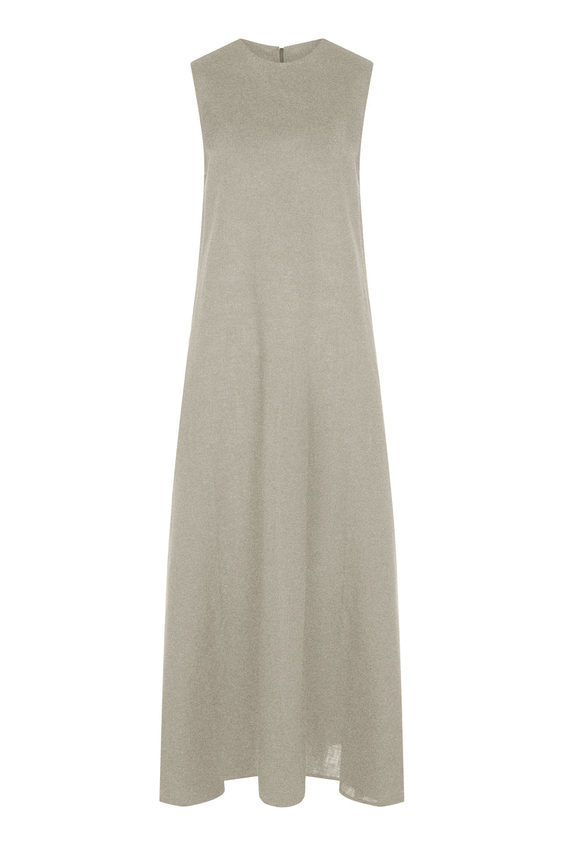 Sleeveless maxi linen dress