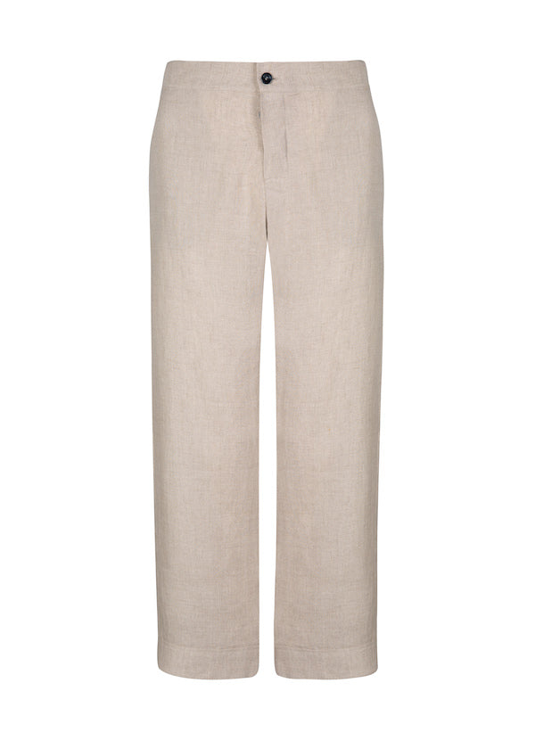 Natural beige linen cropped trouser