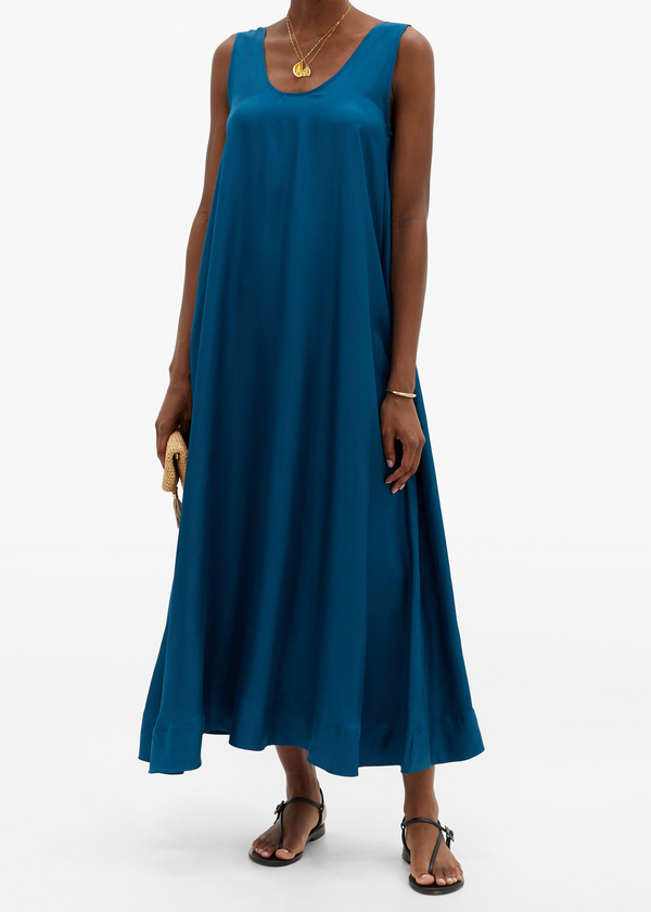 Capri Deep Sea Silk Scoop-Neck Dress