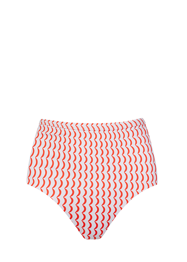 Red and cream crescent print high-waisted bikini bottoms