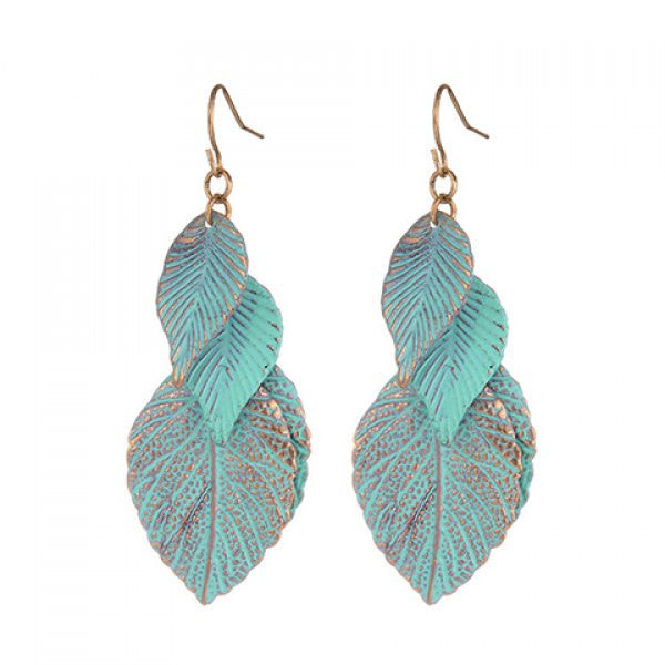 {Chick Embossed Leaf Drop Earrings}