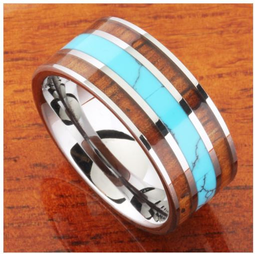{Hawaii - Unique Koa Wood Turquoise Mens Wedding Band}