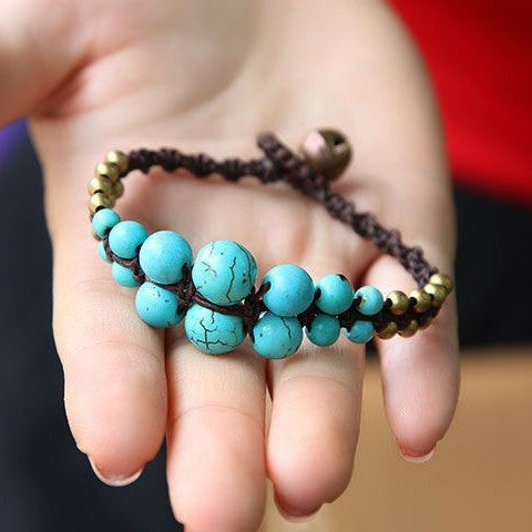 {Turquoise Copper Beads Bracelet}