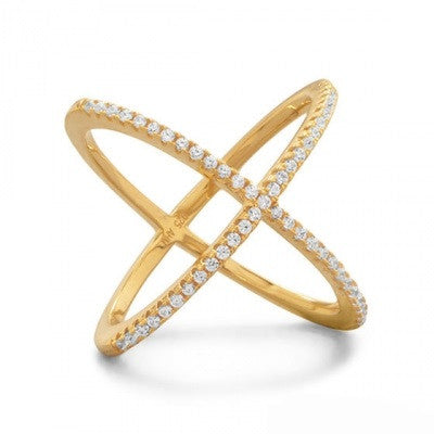 {Classy - 18 Karat Gold Plated Criss Cross 'X' with Signity CZs Ring}