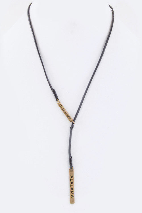 {Suede Cord State Coordinate Necklace - Gray Cord}