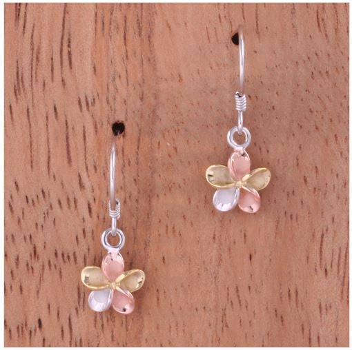 {Hawaii - 8mm Tri-Color Plated 925 Sterling Silver Plumeria Hook Earrings}