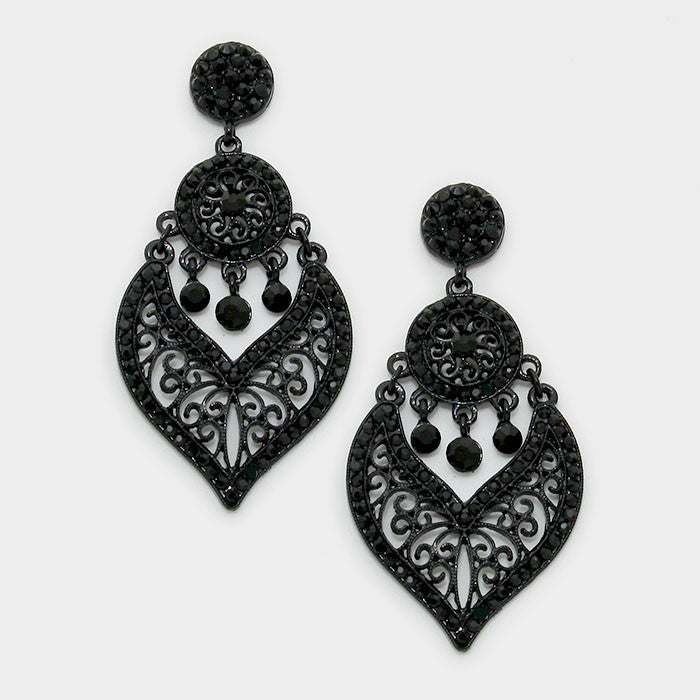 {Crystal Rhinestone Filigree Earrings}