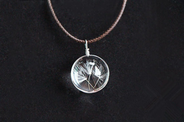 {Cute Glass Bottle Dandelion Seeds Necklace}