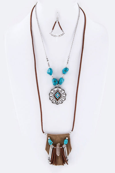 {Concho & Tribal Charm Long Necklace Set}
