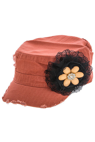 {Accent Crystal Floral Lace Military Cap}