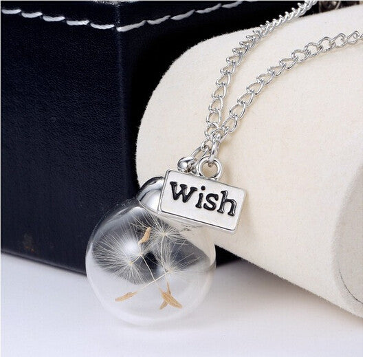 {Cute Glass Bottle Dandelion Seeds Wish Pendant Necklace - S&H}