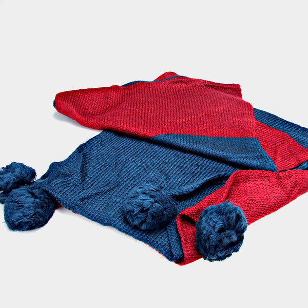 {Color Block Pom Spring Scarf}