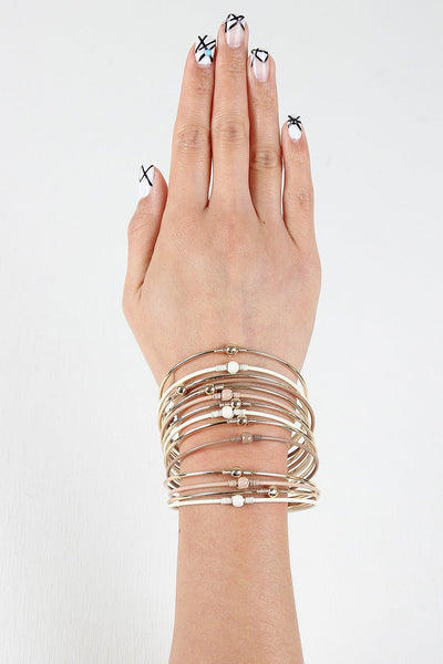{Stacked Multi Wire Cuff Bracelet}