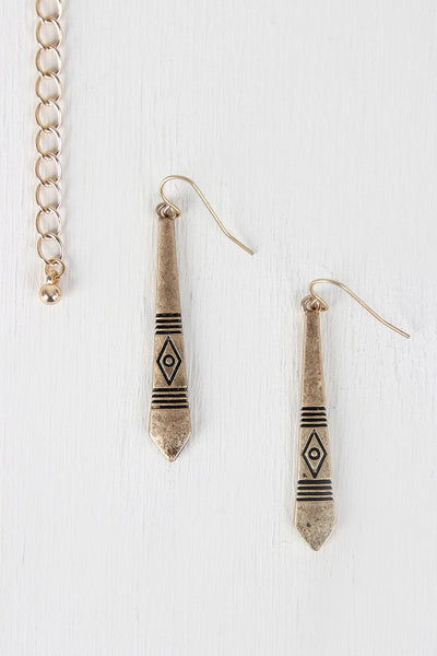 {Tribal Bar Statement Necklace & Earring Set}
