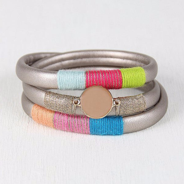 {Vegan Leather Magnetic Wrap Bracelet}